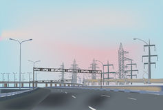 Empty highway near electrical pylons Stock Image