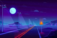 Empty highway in night dessert cartoon vector vector illustration