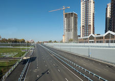 Empty highway, outgoing to the horizon. Sunny autumn day. Stock Images
