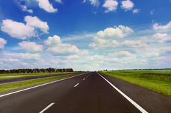 Empty highway in sunny day Royalty Free Stock Image