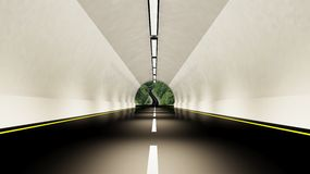 Empty highway tunnel Stock Photos