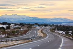 Empty highway in winter Spain Royalty Free Stock Image