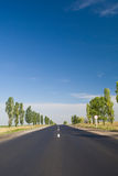 Empty Highway With Blue Sky Stock Photos