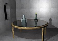 Empty historic room with an old glass table. And two bottles on it, 3D illustration Royalty Free Stock Photo