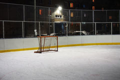 Empty hockey gate on an ice rink Royalty Free Stock Photo