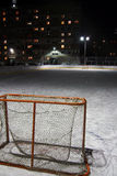 Empty hockey gate at an ice rink Royalty Free Stock Photos