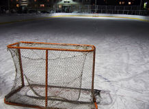 Empty hockey gate at an ice rink after game Stock Photo