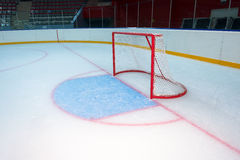 Empty hockey goal. On ice rink. Side view Stock Photo