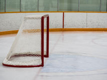 Empty hockey net. On ice rink Stock Image
