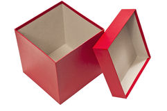 Empty Holiday Red Gift Box With Lid. An empty red gift box with the lid leaning on it isolated on white Royalty Free Stock Photos