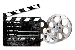 Empty Hollywood Film Canisters and Clapper on Whit Royalty Free Stock Image