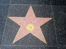 Empty Hollywood Star on the Sidewalk of Hollywood Boulevard. Empty Star on Hollywood Walk of Fame in Hollywood, California Stock Images