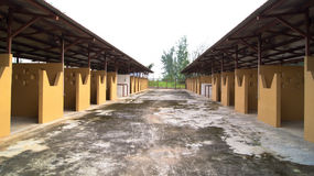 Empty Horse Stable Individual Stalls on Both Sides. An outdoor horse stable with individual stalls royalty free stock photo