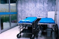 Empty hospital bed at hospital area.  stock image