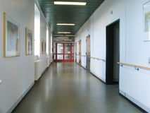 Empty hospital corridor stock photo