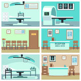 Empty hospital, doctor office, surgery room, clinic vector interiors set. Hospital room with X-ray and MRI, interior rooms in clinic illustration Stock Image