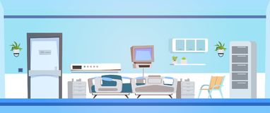 Empty Hospital Ward Background Clinic Room Interior With Bed. Flat Vector Illustration stock illustration