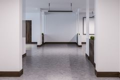Empty hotel or office corridor with many doors vector illustration