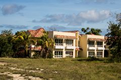 Empty Hotel Rooms At Abandoned All-Inclusive Resort In Cayo Coco, Cuba. This decaying resort started out as the El Senador then became the Emperador. It last stock photos