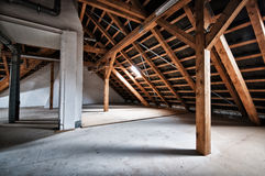 Empty house attic Stock Photo