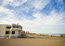 Empty house at the beach. And blue sky stock photography