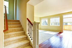 Empty house interior. Living room with staircase Royalty Free Stock Photos