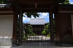 An empty house with Japanese-style gate in Fukuoka, Japan. Pic w royalty free stock image