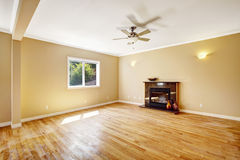 Empty house. Living room with fireplace Royalty Free Stock Images