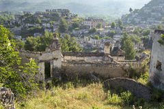 Empty houses at ghost town village Kayakoy ruins near Fethiye Stock Photo