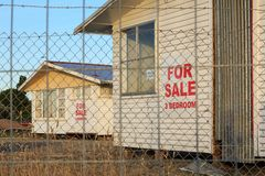 Empty houses for sale in a removal lot royalty free stock images