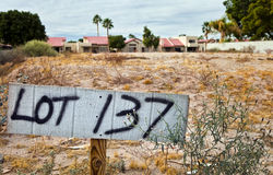 Empty Housing Lot. Lot sign sits on vacant ground Royalty Free Stock Photos
