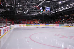 empty ice arena before the world cup match between hockey teams of the romania and ukraine division i group b april ds druzhba in Stock Photography