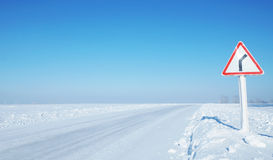 Empty ice covered road Royalty Free Stock Image