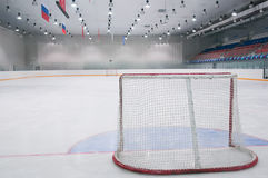 Empty ice hockey playground. The view from behind the gate Stock Photography
