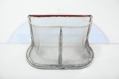 Empty ice hokey net. Seen from behind, nobody royalty free stock images