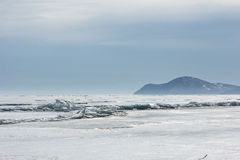 Empty ice landscape on Baikal in the winter Royalty Free Stock Photography