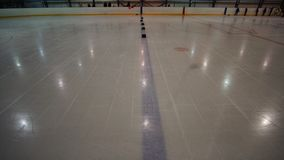 Empty ice rink, hockey and skating arena indoors. Ice concept stock image
