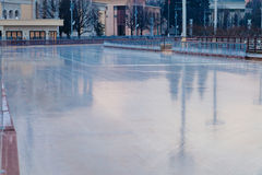 Empty ice rink on the street Royalty Free Stock Photos