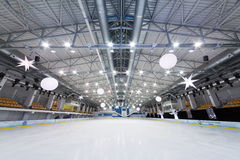 Empty ice stadium at Ice Palace Mechta. MOSCOW - DEC 14: Empty ice stadium at Ice Palace Mechta, on Dec 14, 2012 in Moscow, Russia Stock Image