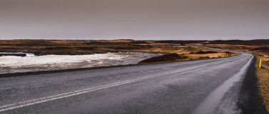 Empty Icelandic country road in winter Royalty Free Stock Photography