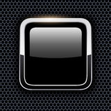 Empty icon with chrome metal frame Stock Image