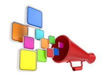 Empty Icons Taking off from the Megaphone. Royalty Free Stock Images