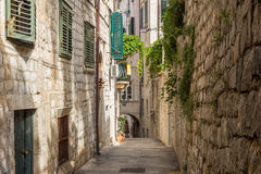 Empty & idyllic alley at Dubrovnik's Old Town Stock Photo