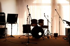 Empty illuminated stage. With music instruments royalty free stock photos