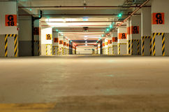 Empty underground parking Stock Images
