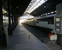 Empty inactive railway station royalty free stock photography