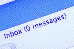 Empty inbox. Close up of an email program screen on a computer monitor showing a message of an empty inbox Stock Image