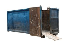 Empty industrial container for construction waste. Isolated stock photo