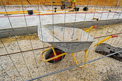 Empty Industrial Handcart on Construction Site Royalty Free Stock Image