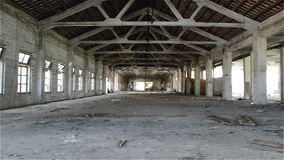 Empty industrial loft in an architectural background with bare cement walls stock video footage